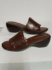 Montego Bay Club Leather Platform Slides Sandals Brown Size 9