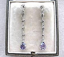 Feminine Deco Design Amethyst CZ & Marcasite Silver Drop Earrings