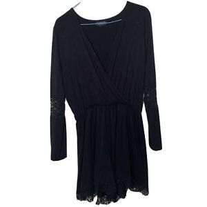Topshop Size UK12 Black Long Sleeved Romper