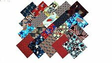 80 5 inch Quilting Fabric Sqs/Patriotic Medley/Red/Wht/Blue-20 DIFFERENT-4 EA