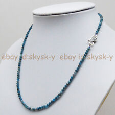 Round Gemstone Beads Necklace 18'' Genuine 3mm Faceted Natural Blue Apatite