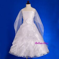 Organza Wedding Flower Girl Dress + Shawl Pageant Party Formal Size 2T-13 FG232S