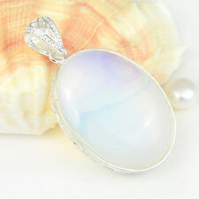 Holiday Gift Huge Oval Cut Rainbow Moonstone Gems Silver Peacock Pendant