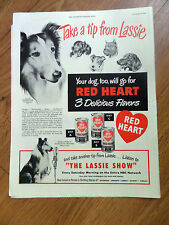 1949 Red Heart Dog Food Ad Collie Dog Movie StarTake a Tip from Lassie