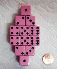 DICE SALE - 16mm OPAQUE PINK WITH BLACK PIPS! ONE DOZEN!