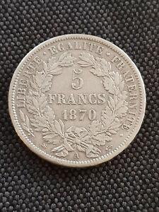 France 5 Francs Argent Cérès Avec Légende 1870 A TTB++