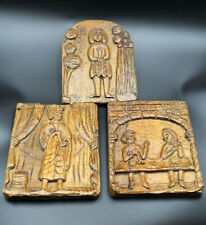 three Relief panels from the 18th century Wood carved, Folk art