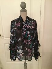 Laundry Long Sleeves Black Floral Top Blouse Size 6 *NWT*