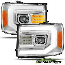 Fit 07-13 GMC sierra 1500/07-14 2500/3500HD Chrome Headlights w/LED DRL+Signal