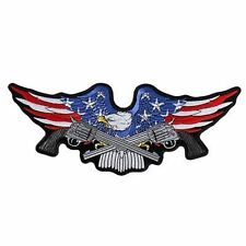 Military Eagle Guns NRA Embroidered Biker LARGE MC Club BACK Vest Patch LRG-0556