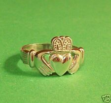 """Men's Claddagh Ring Solid 14K Yellow or White Gold Most Sizes  """"Wholesale"""""""