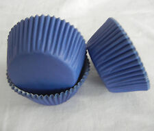100 blue plain cupcake liners baking paper cup muffin case 50x33mm
