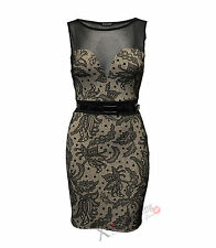 WOMENS LADIES SLEEVELESS DRESS FLORAL PAISLEY FLOCK PRINT MESH BODYCON SEXY TOP