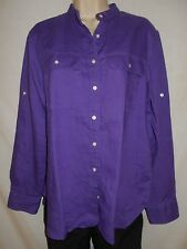 Ralph Lauren Linen Blouse Womens LARGE 16 Shirt Purple  Top 6s81