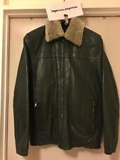 Men's Donar DNR Leather Jacket With Removable Faux Fur Collar Green/Black 42''