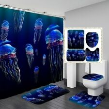1/3/4pcs Ocean Jellyfish Shower Curtain Bathroom Rug Lid Toilet Cover Bath Mats