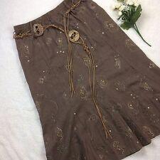 Soul Hippie Boho Skirt Brown Tie Beaded Belt Elasticated Waist Sequins