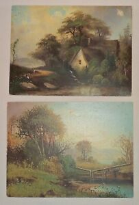Two Unframed Antique Oil on Board Paintings, Landscapes Near Water, Unsigned