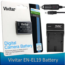 1x Vivitar EN-EL19 Battery + Charger for Nikon Coolpix S33 S2900 S3700 S7000