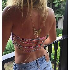 Butterfly body chains beach necklace gold body waist belly crossover gold chains