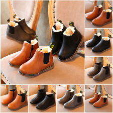 Child Baby Boy Girls Winter Fur Lined Warm Shoes Kids Ankle Boots Chelsea Shoes