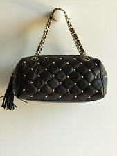 CLAUDIA FIRENZE Italy New Studded Dark Bronze Quilted Leather Satchel Bag