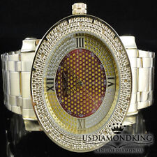 Men's Big Face King Master Yellow Gold Finish Genuine Real Diamond Watch 0.12ct