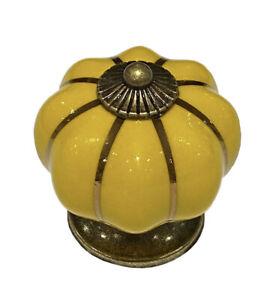 Bright Yellow Ceramic Cabinet Door Knobs. Drawer Pulls. Vintage Pumpkin Style.