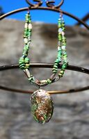 Fantastic green smooth turquoise Abalone shell two strand heishi  NECKLACE
