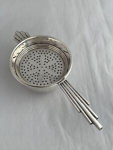 Antique Silver Tea Strainer & Bowl ART DECO 1937 Birmingham J B Chatterley