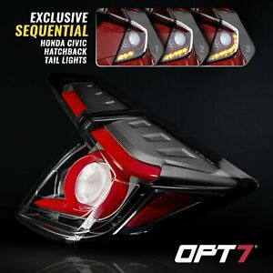 For 16-20 Honda Civic Hatchback Tail Light Lamp LED with Sequential Turn OLED