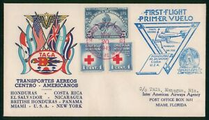MayfairStamps 1943 to Managua Nicaragua TACA Honduras First Flight Cover wwp6575