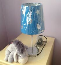 BOYS GIRLS BEDROOM TABLE LAMP BLUE CUT OUT SPACE ROCKET MOON STARS CHROME BASE