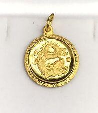 24K Solid Yellow Gold Dragon Animal Sign Round Charm/ Pendant, 2.59 Grams
