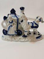 Blue White Porcelain Couple Carriage Horses Vintage Figurine