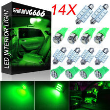 14X Green LED Interior Package Kit for T10 194 31mm 41mm Map Dome Lights Bulb