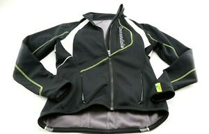 Cannondale Cycling Women's Jacket Size Medium Black White Green Zip Warm Poly