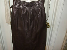 Vintage Emanuel Ungaro(Paris) Size Small Made In Italy Brown Leather Skirt