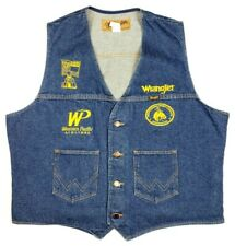 Wrangler XL Embroidered Blue Denim Button Vest Pikes Peak Rodeo Cowboy Pockets