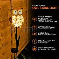 8xLED Garden Owl Solar Lights Patio Yard Lawn Waterproof Stake Lamp Party Decor