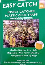 YELLOW FRUIT FLY GLUE TRAP Double Sided Indoor/Outdoor NON TOXIC 10 SHEETS