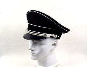 WW2 German Elite Officer's Wool Hat W White Chin Pipe Silver Cord  W Hat badge