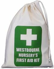 Personalised First Aid Bag - SMALL natural cotton drawstring bag -SUPPLIED EMPTY