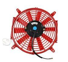 "Jdm 10"" Inch Slim Fan Radiator Push Pull Thin Electric Cooling 12V 1500Cf Red"