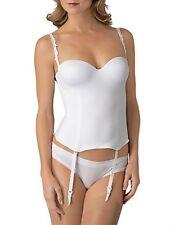Le Mystere Lingerie Seduction Bustier Bridal Corset - Garters - 32B White #4466
