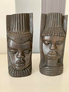 Superb Wood Hand Carved Large African Head Pair Sculpture