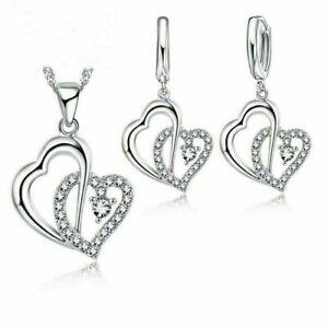 Doppel Herz SET Halskette Ohrhänger Ohrringe Herzkette Kordelkette Geschenke
