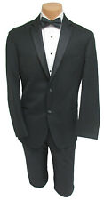 "40R Men's Slim Fit Black Tuxedo Jacket with Flat Front Pants 30-32"" Waist"