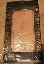 House of Marlow Folio Case Apple iPhone 7 Peach Skin w/ Silver Metal Trim NEW