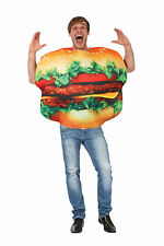 ADULT UNISEX BURGER FOOD ONE SIZE COSTUME FOR FANCY DRESS PARTY